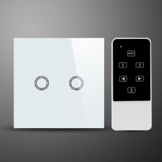 illucio Glass 2 Gang Remote on off & Touch Control Light Switch White